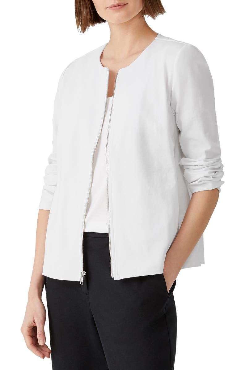 EILEEN FISHER Zip Front Organic Cotton Blend Jacket, Main, color, WHITE
