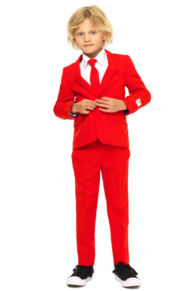 OPPOSUITS Red Devil Two-Piece Suit with Tie, Main, color, RED