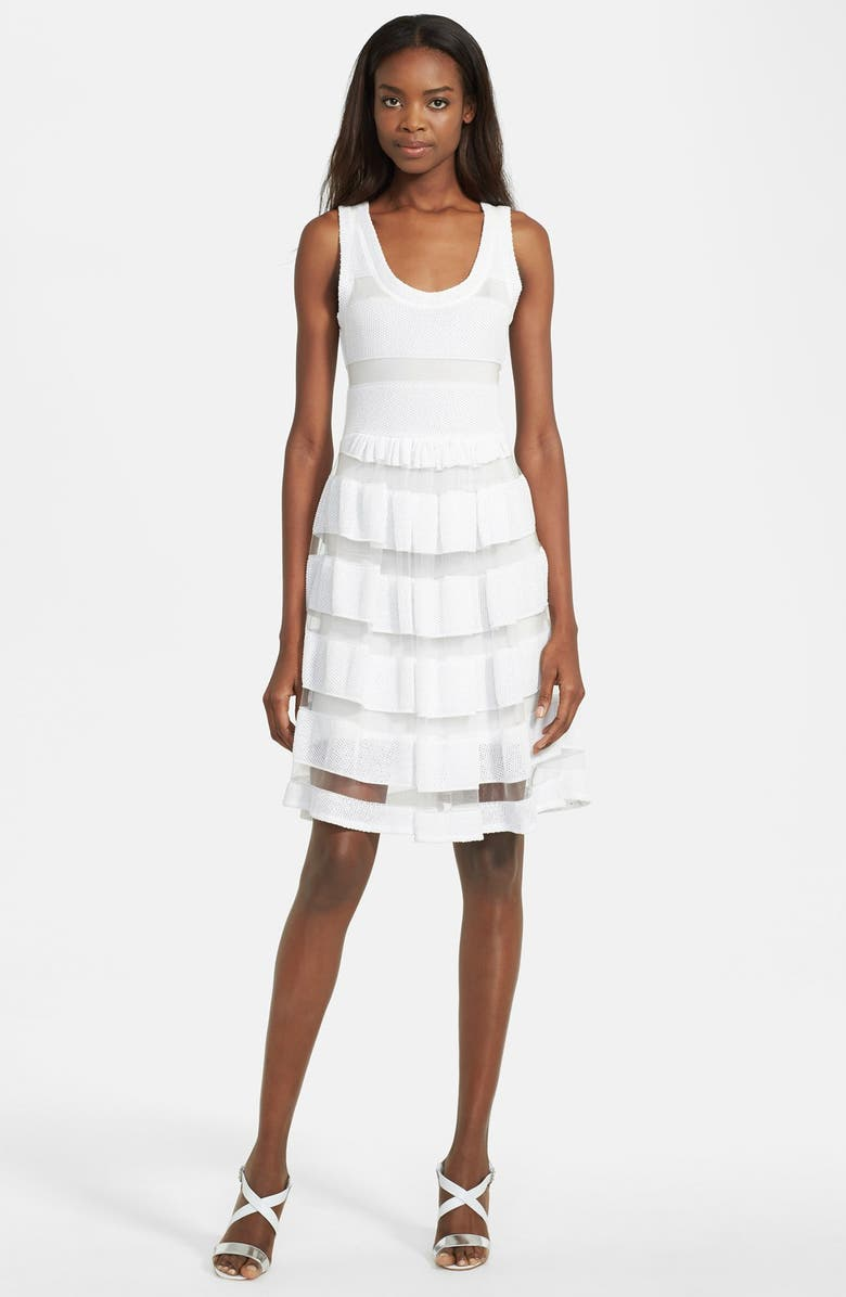 TRACY REESE Mesh Stripe Pointelle Knit Fit & Flare Dress, Main, color, OPTIC WHITE