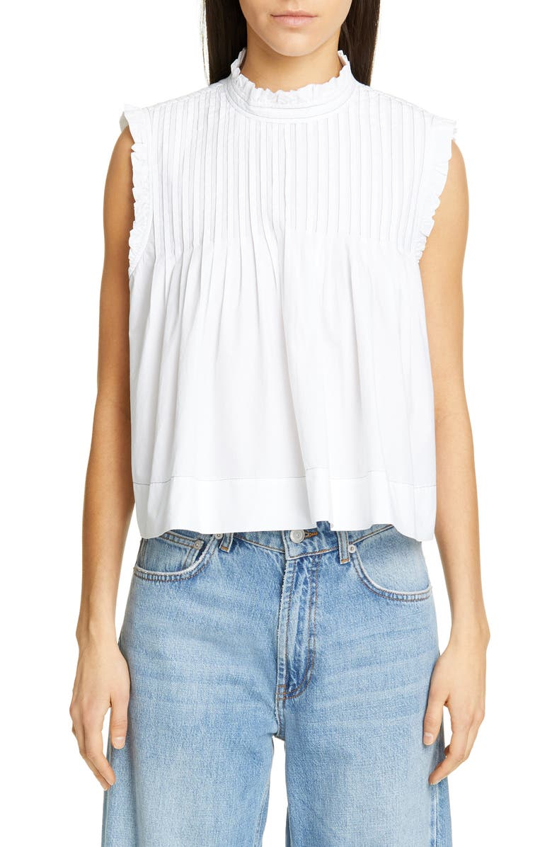GANNI Sleeveless Poplin Crop Top, Main, color, 100