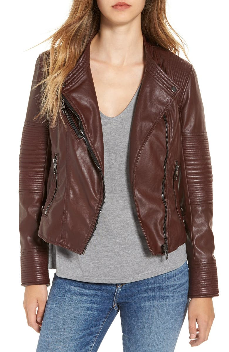 BLANKNYC Quilted Faux Leather Moto Jacket, Main, color, 930