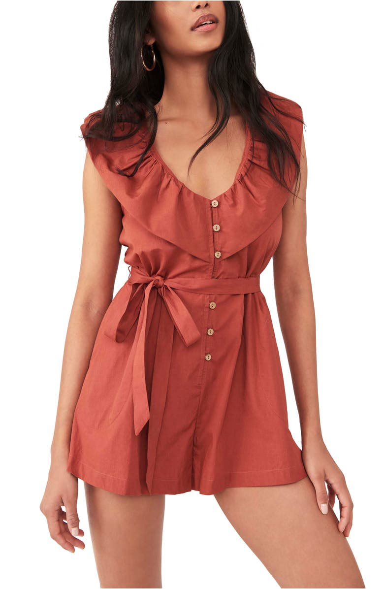 FREE PEOPLE Darling Romper, Main, color, SPICED BRANDY