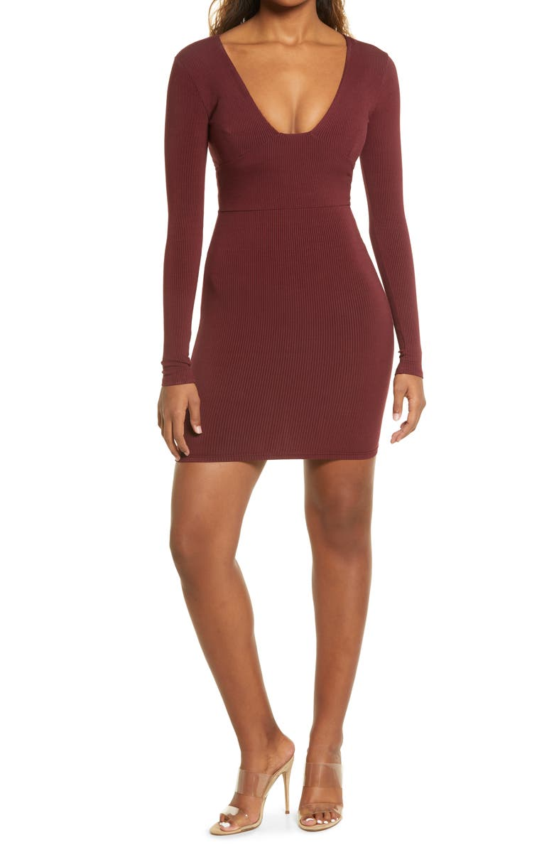 NAKED WARDROBE Snatched Bustier Long Sleeve Rib Body-Con Dress, Main, color, DARK WINE