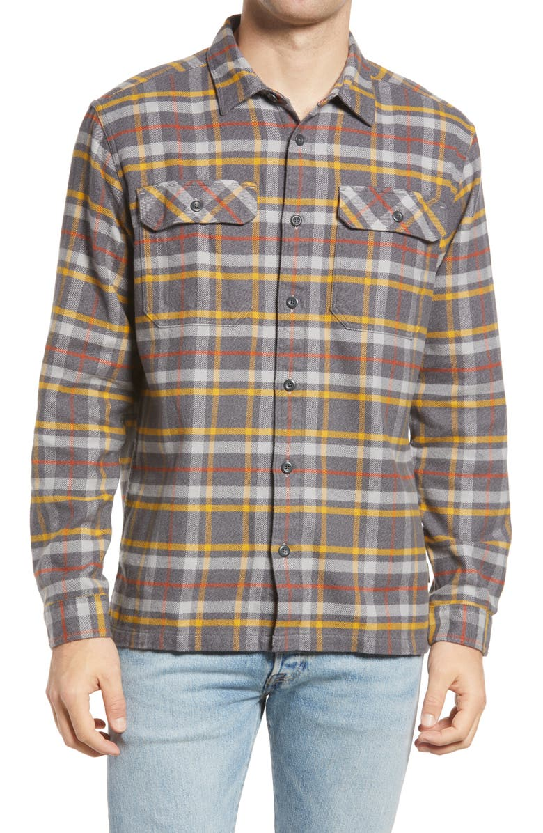 PATAGONIA Fjord Regular Fit Organic Cotton Flannel Shirt, Main, color, INDEPENDENCE FORGE GREY