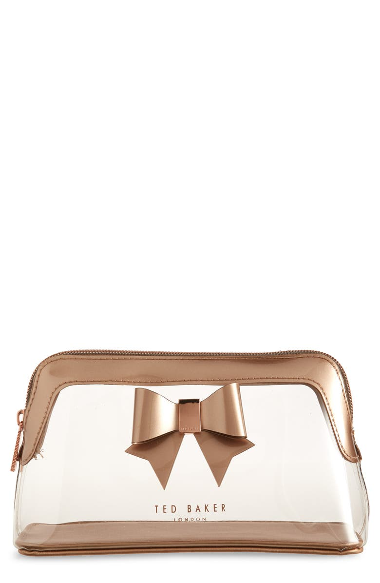 TED BAKER LONDON Gemi Bow Clear Cosmetics Bag, Main, color, CLEAR