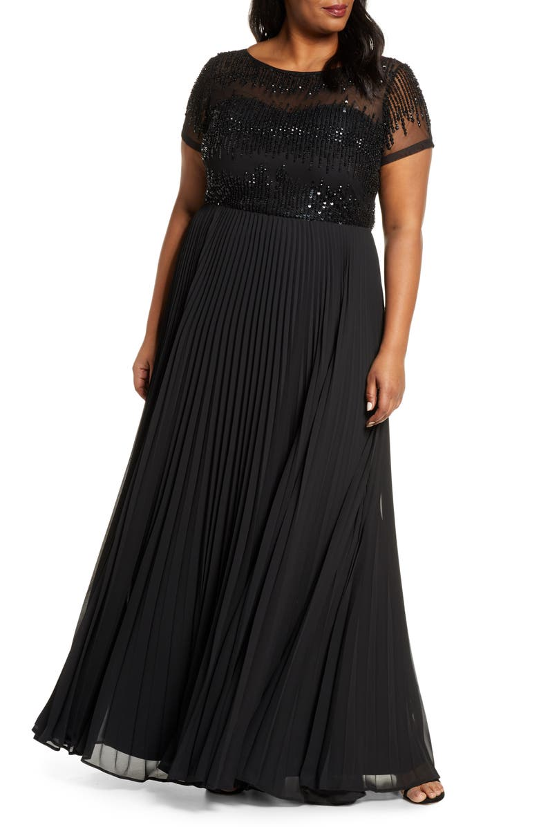 JS COLLECTIONS Beaded Ballgown, Main, color, Black