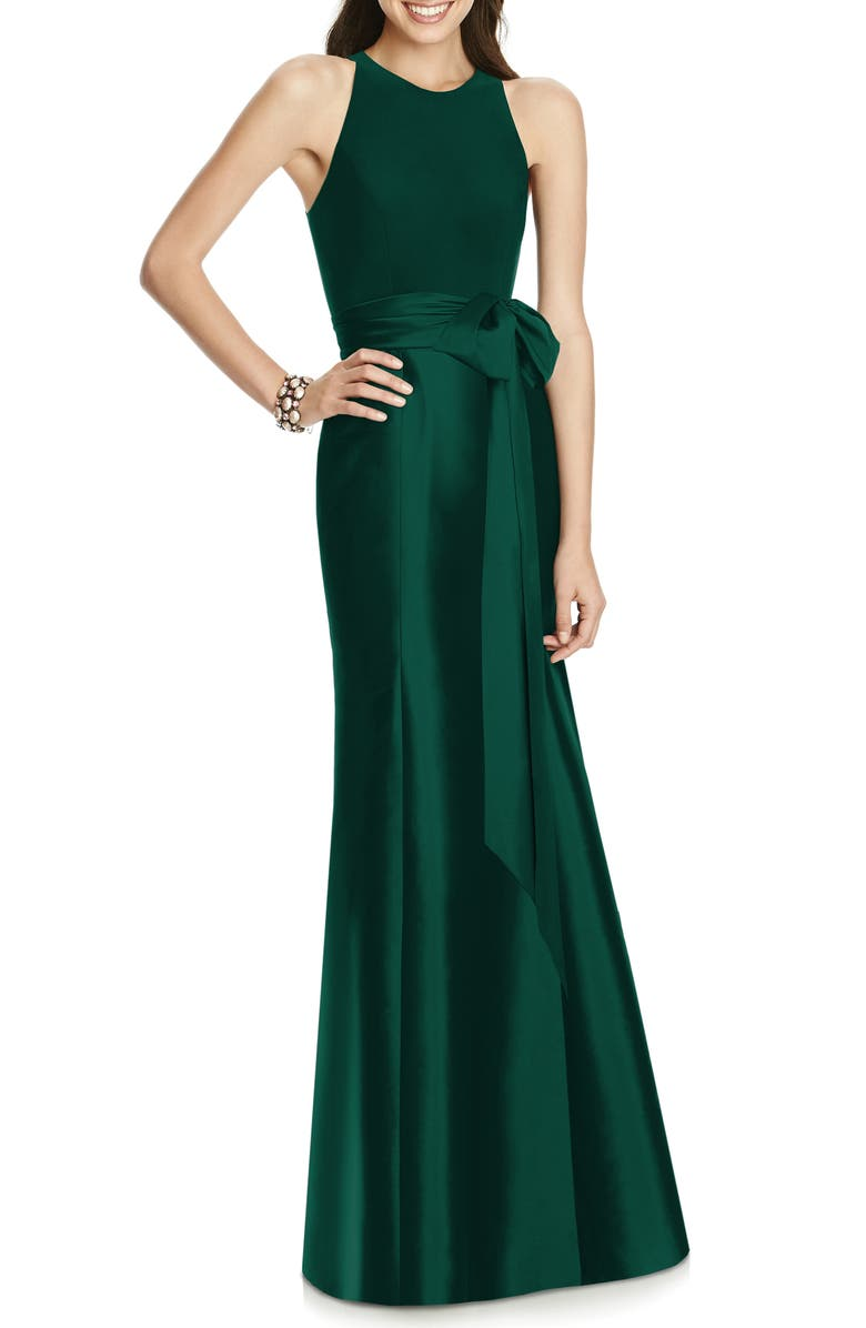 ALFRED SUNG Jersey Bodice Mikado Trumpet Gown, Main, color, 303