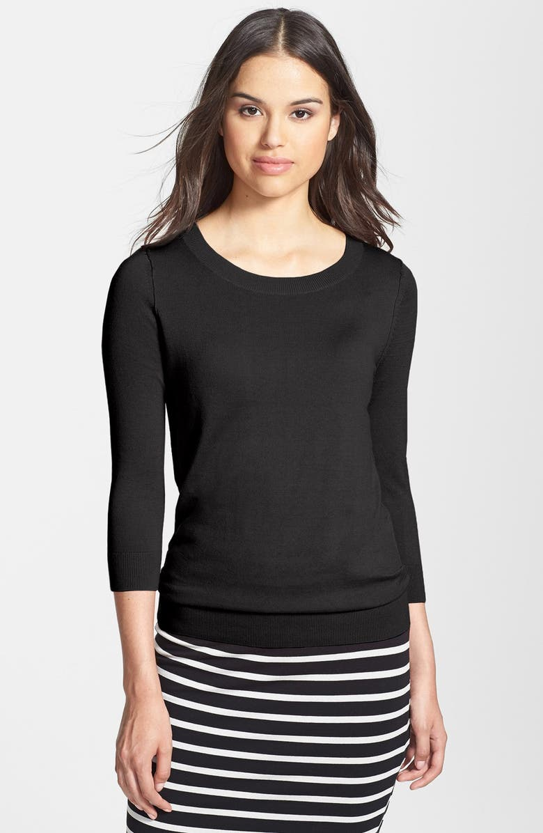 HALOGEN<SUP>®</SUP> 3/4 SLEEVE CREW SWEATER, Main, color, 001