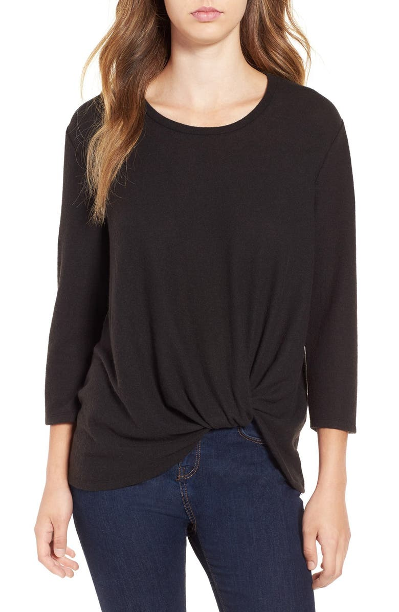 JUNE & HUDSON Knot Front Sweater Knit Tee, Main, color, 001