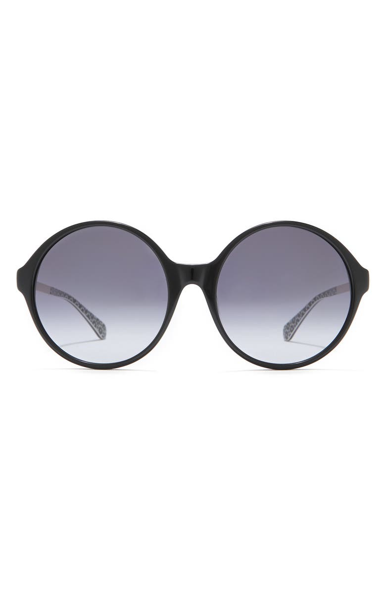 KATE SPADE NEW YORK Wreng 58mm Round Sunglasses, Main, color, BLACK / GREY SHADED