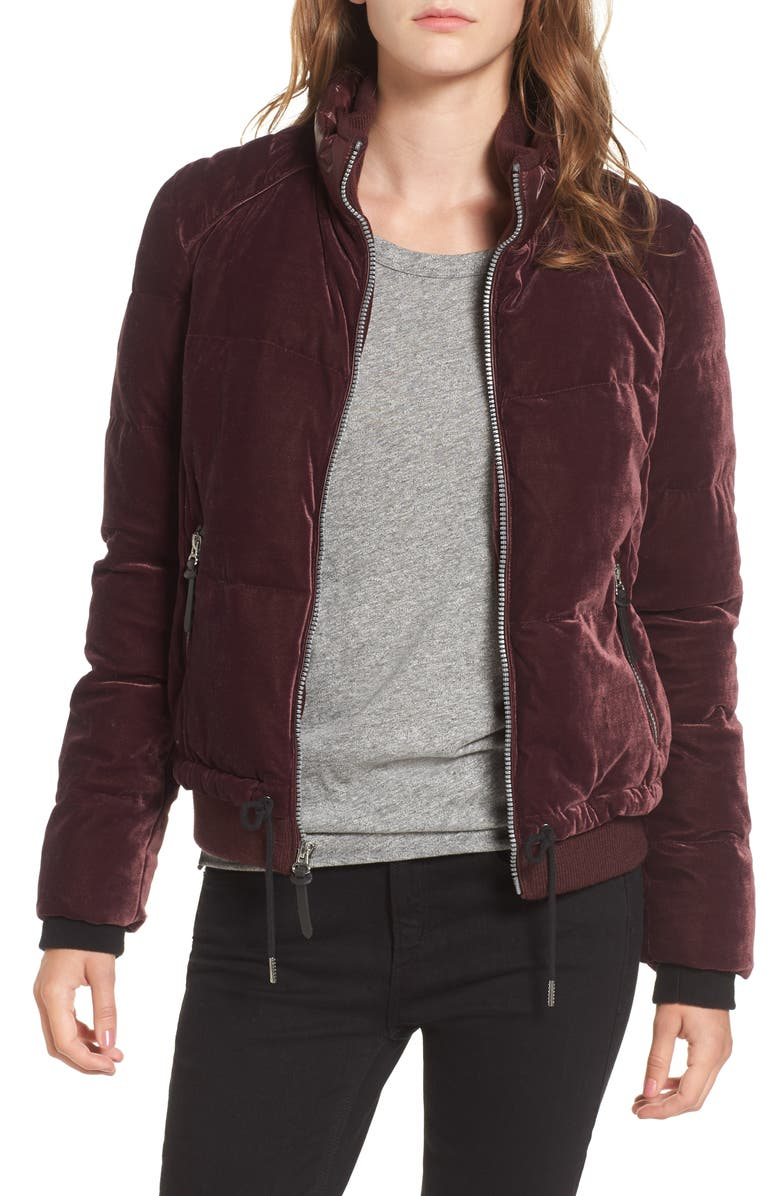 ANDREW MARC Vita Down & Feather Fill Quilted Velvet Jacket, Main, color, 600