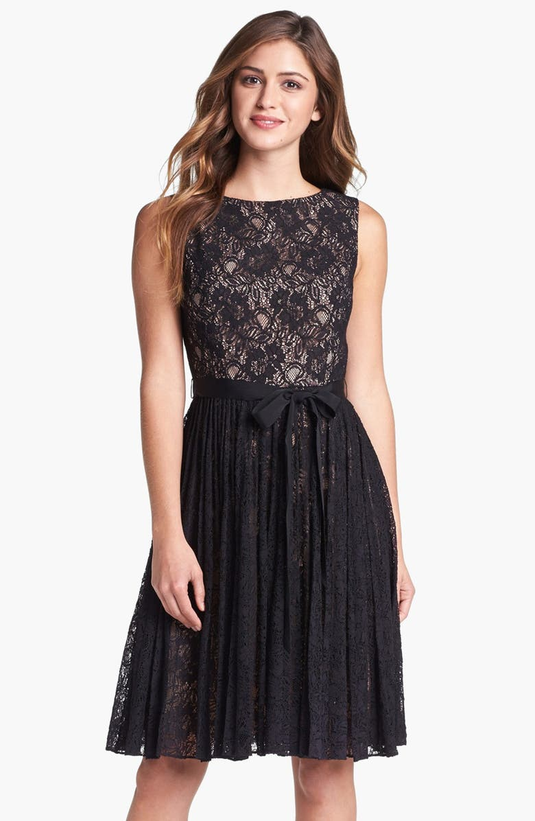 ADRIANNA PAPELL Lace Fit & Flare Dress, Main, color, Black