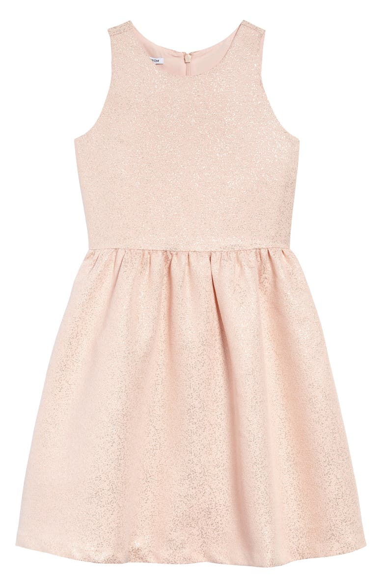 NORDSTROM Kids' Metallic Party Dress, Main, color, PINK BLISS