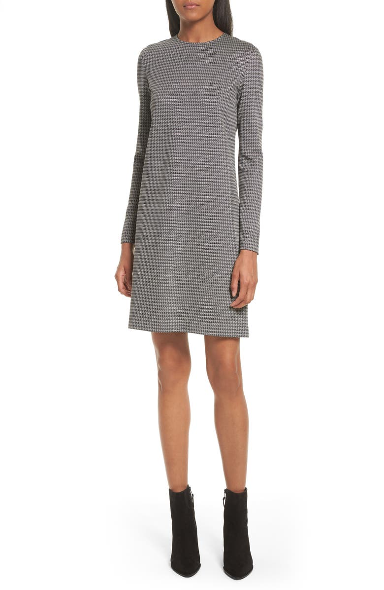 THEORY Wynter Houndstooth Knit Dress, Main, color, BLACK/ WHITE
