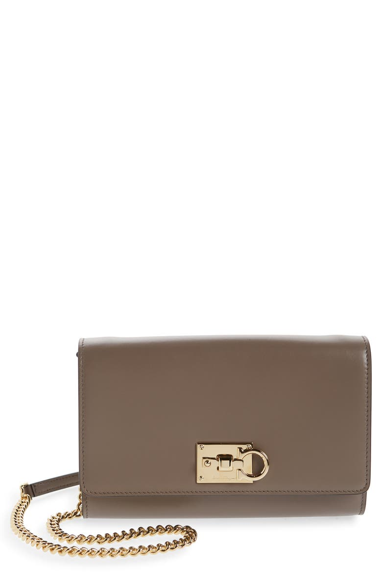 SALVATORE FERRAGAMO The Studio Leather Wallet on a Chain, Main, color, CARAWAY SEED