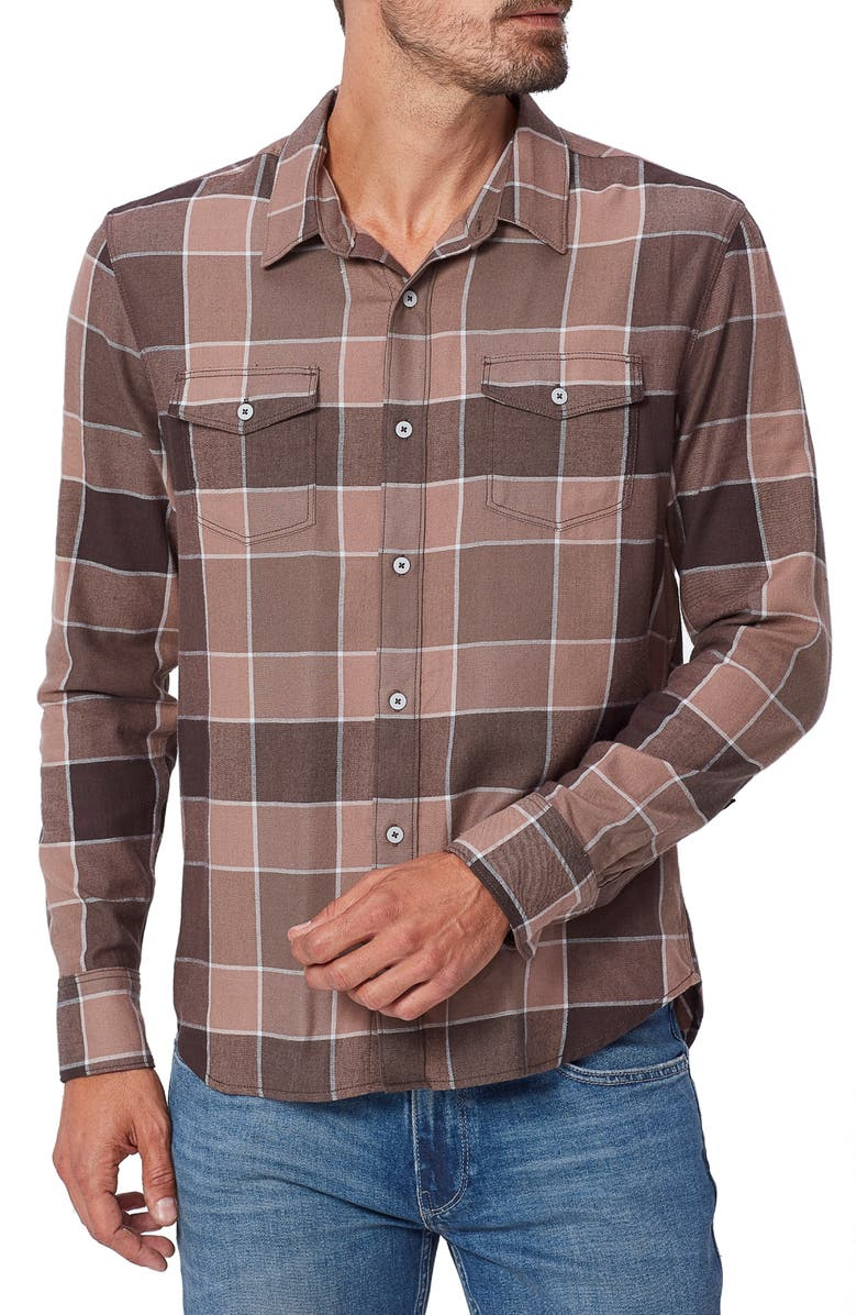 PAIGE Everett Plaid Flannel Button-Up Shirt, Main, color, BROWN OAK