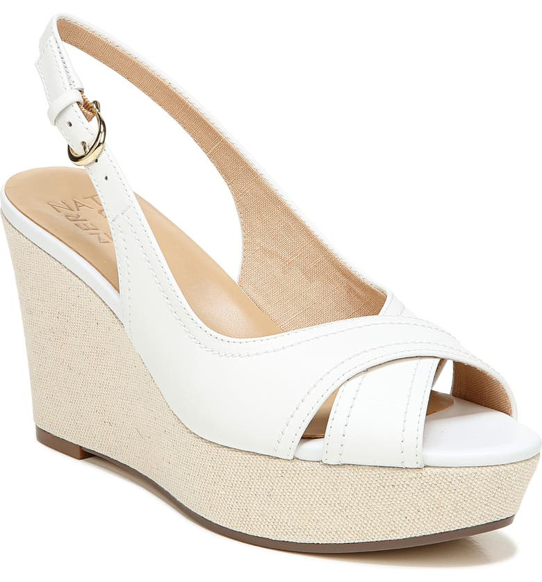 NATURALIZER Zander Slingback Platform Wedge Sandal, Main, color, WHITE LEATHER