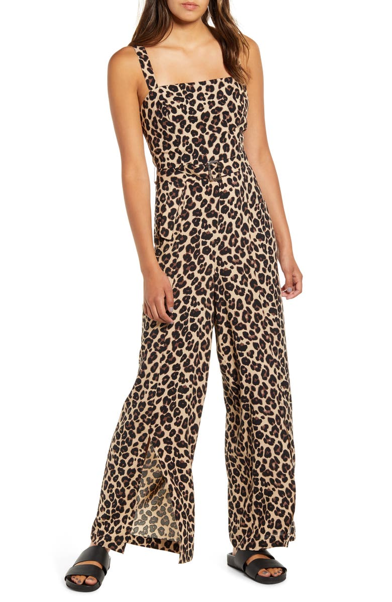 BAND OF GYPSIES Leopard Print Belted Wide Leg Jumpsuit, Main, color, 204