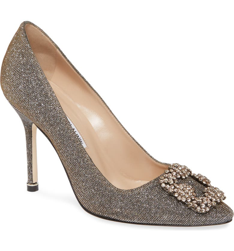 MANOLO BLAHNIK Hangisi Jeweled Pointed Toe Pump, Main, color, BRONZE NOTTURNO/ SILK