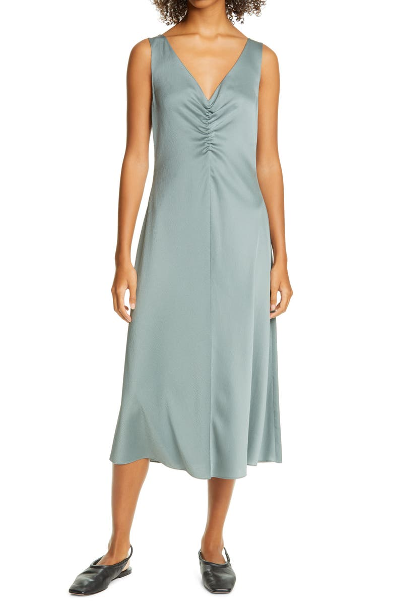 VINCE Ruched Double V-Neck Sleeveless Dress, Main, color, PATINA
