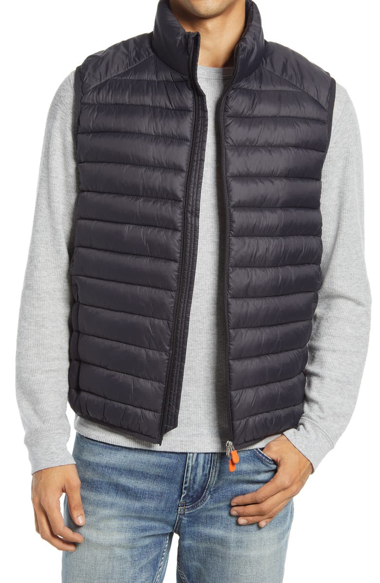 SAVE THE DUCK Solid Zip Puffer Vest, Main, color, BLACK