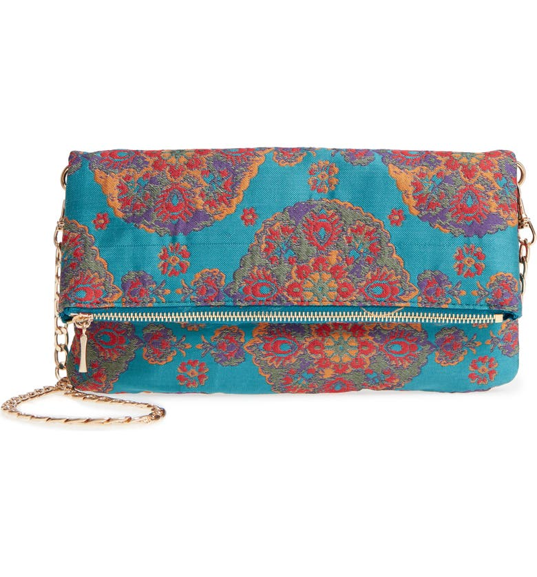 SOLE SOCIETY Floral Jacquard Foldover Clutch, Main, color, TURQOUISE COMBO