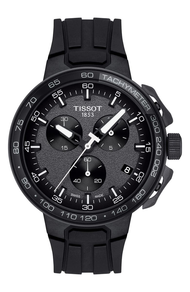 TISSOT T-Race Cycling Chronograph Watch, 44.5mm, Main, color, BLACK/ ANTHRACITE/ SILVER