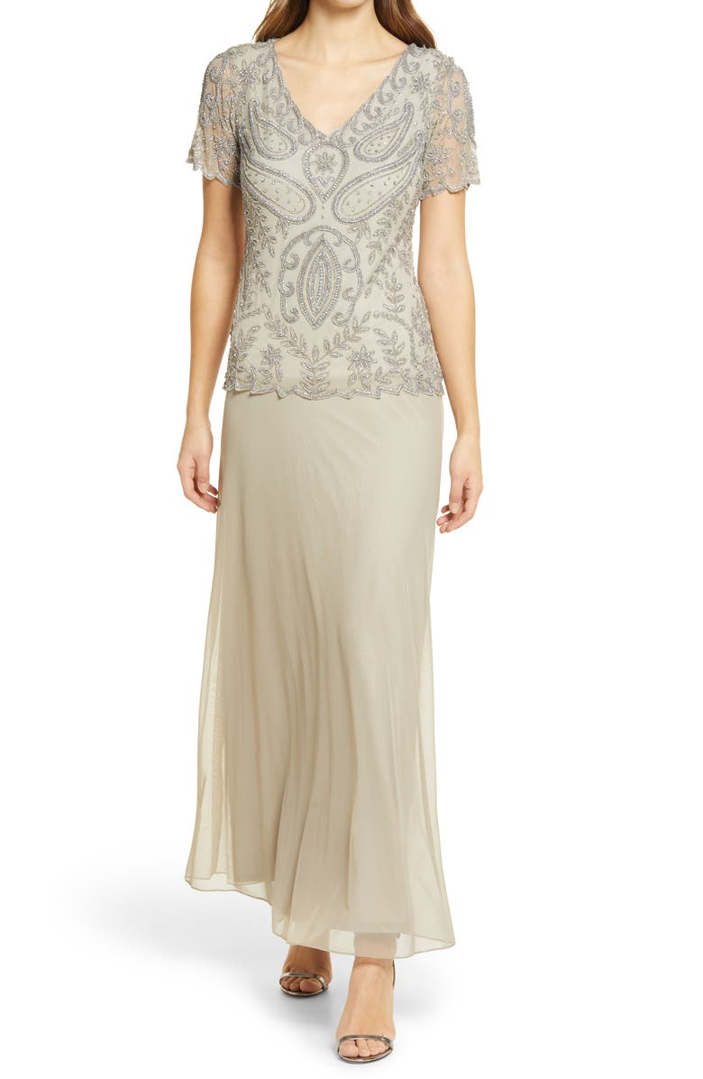 PISARRO NIGHTS Beaded Mock Two-Piece Gown, Main, color, SILVER