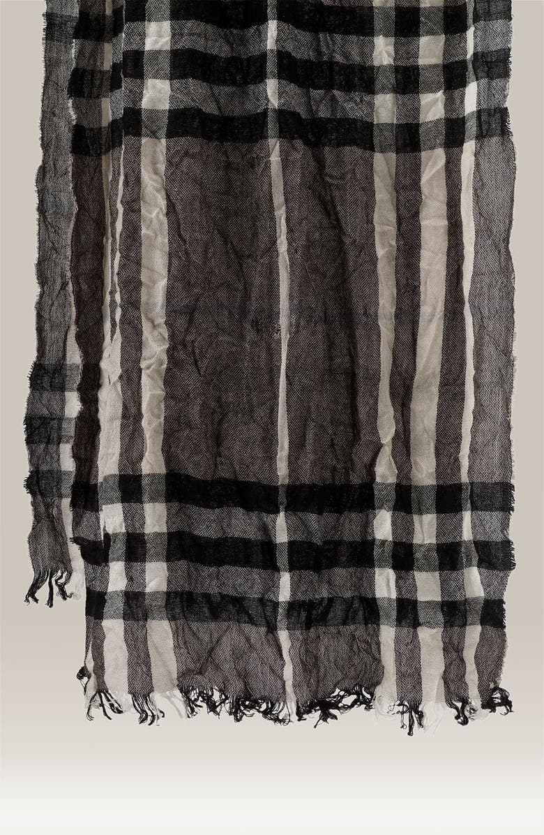 BURBERRY Giant Check Crinkled Scarf, Main, color, 050