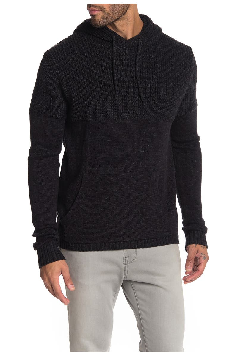 XRAY Contrast Knit Pullover Hoodie, Main, color, BLACK