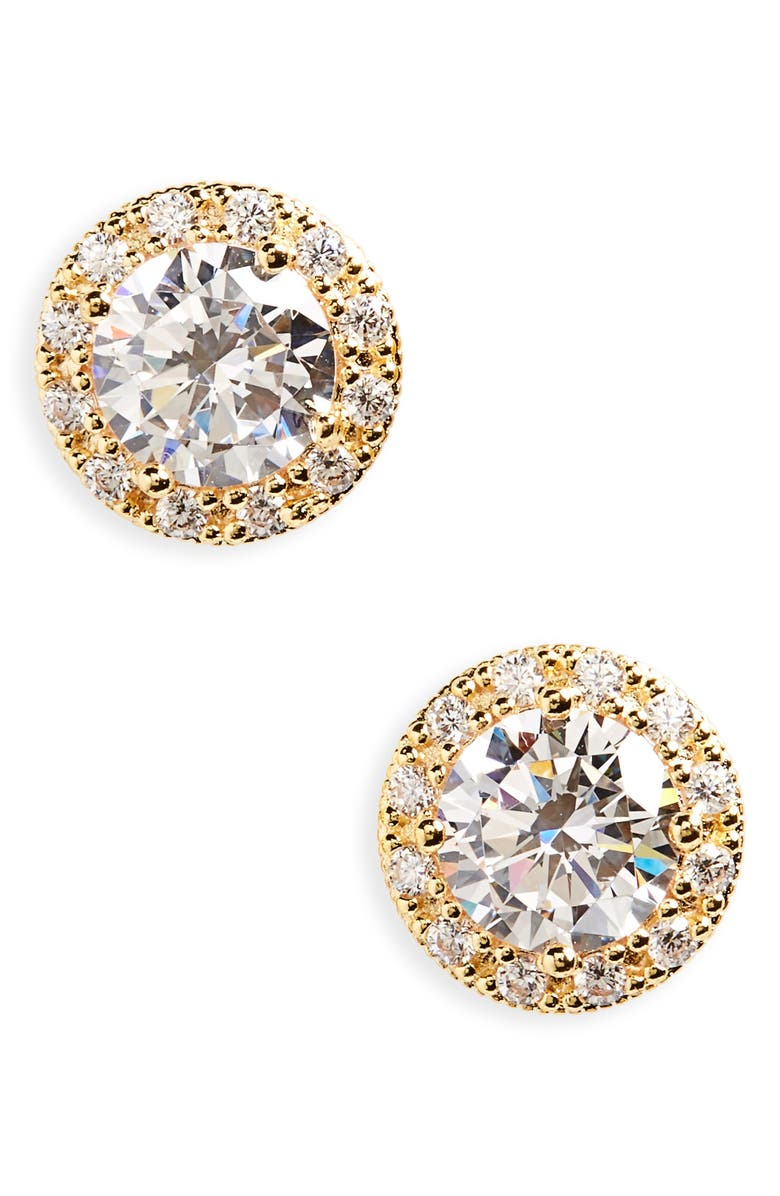 NORDSTROM Pavé Cubic Zirconia Stud Earrings, Main, color, GOLD