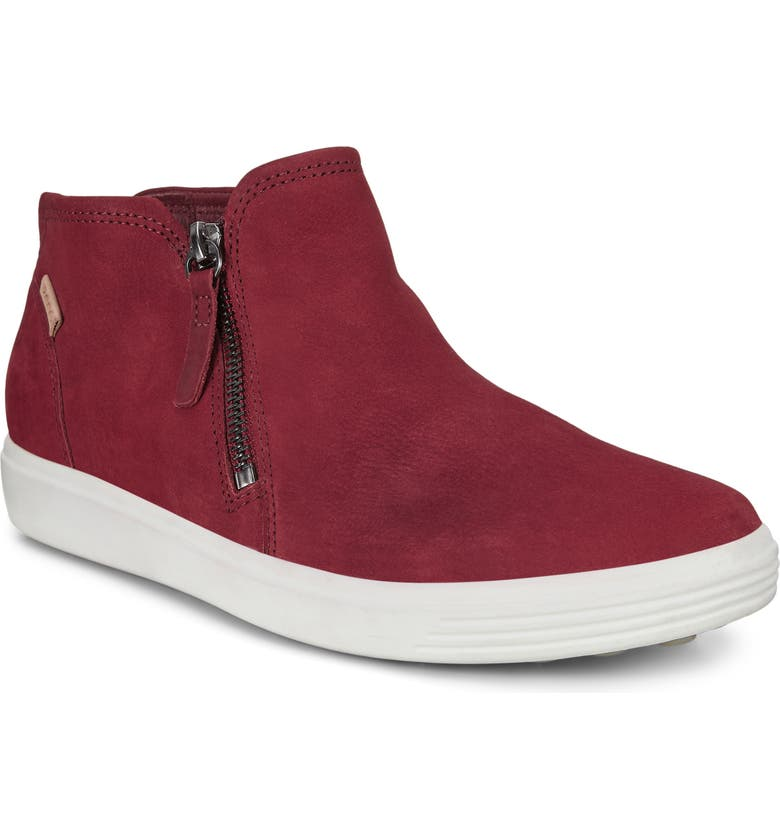 ECCO Soft 7 Mid Top Sneaker, Main, color, SYRAH NUBUCK LEATHER