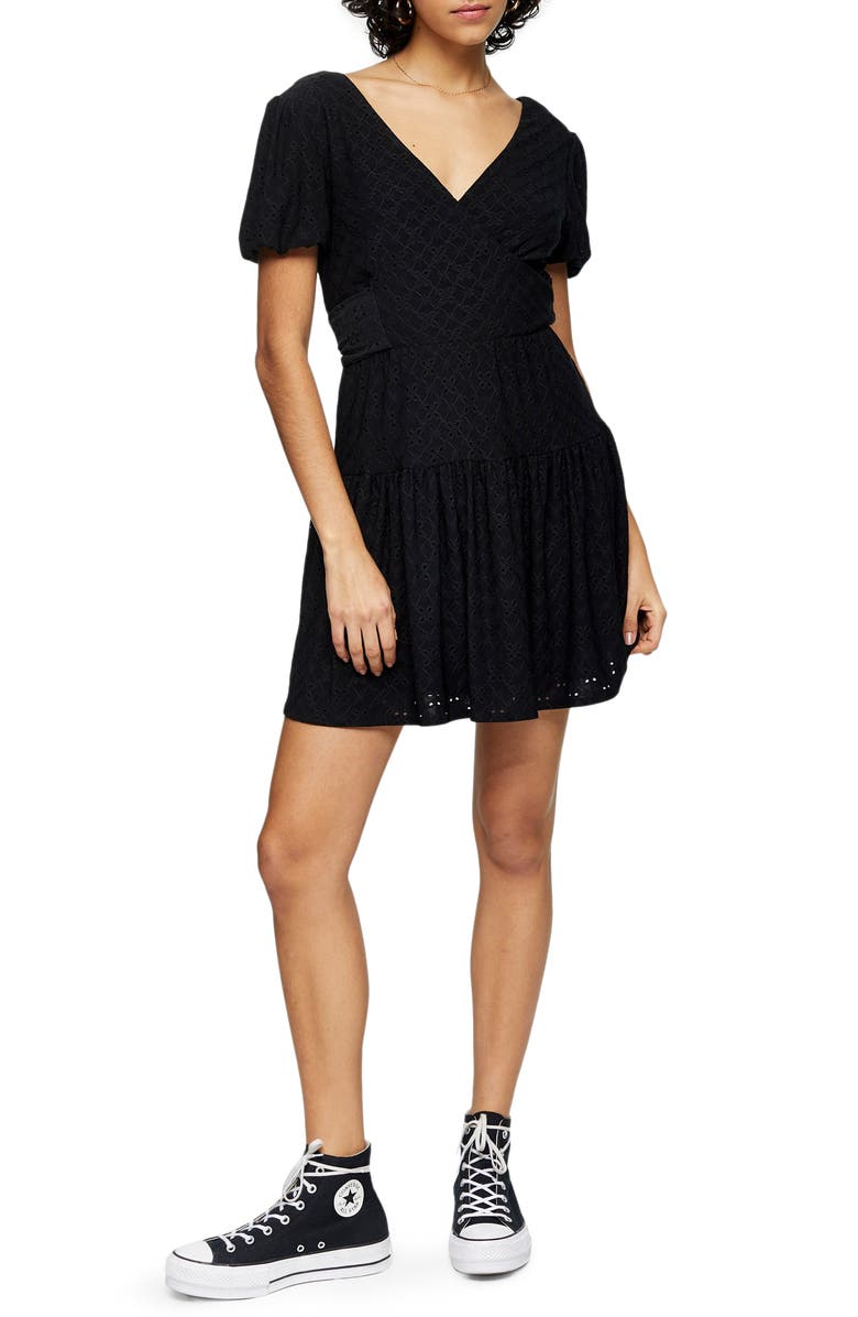 TOPSHOP Broderie Faux Wrap Minidress, Main, color, BLACK