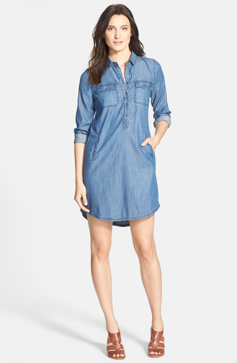 EILEEN FISHER The Fisher Project Classic Collar Chambray Shirtdress, Main, color, DENIM