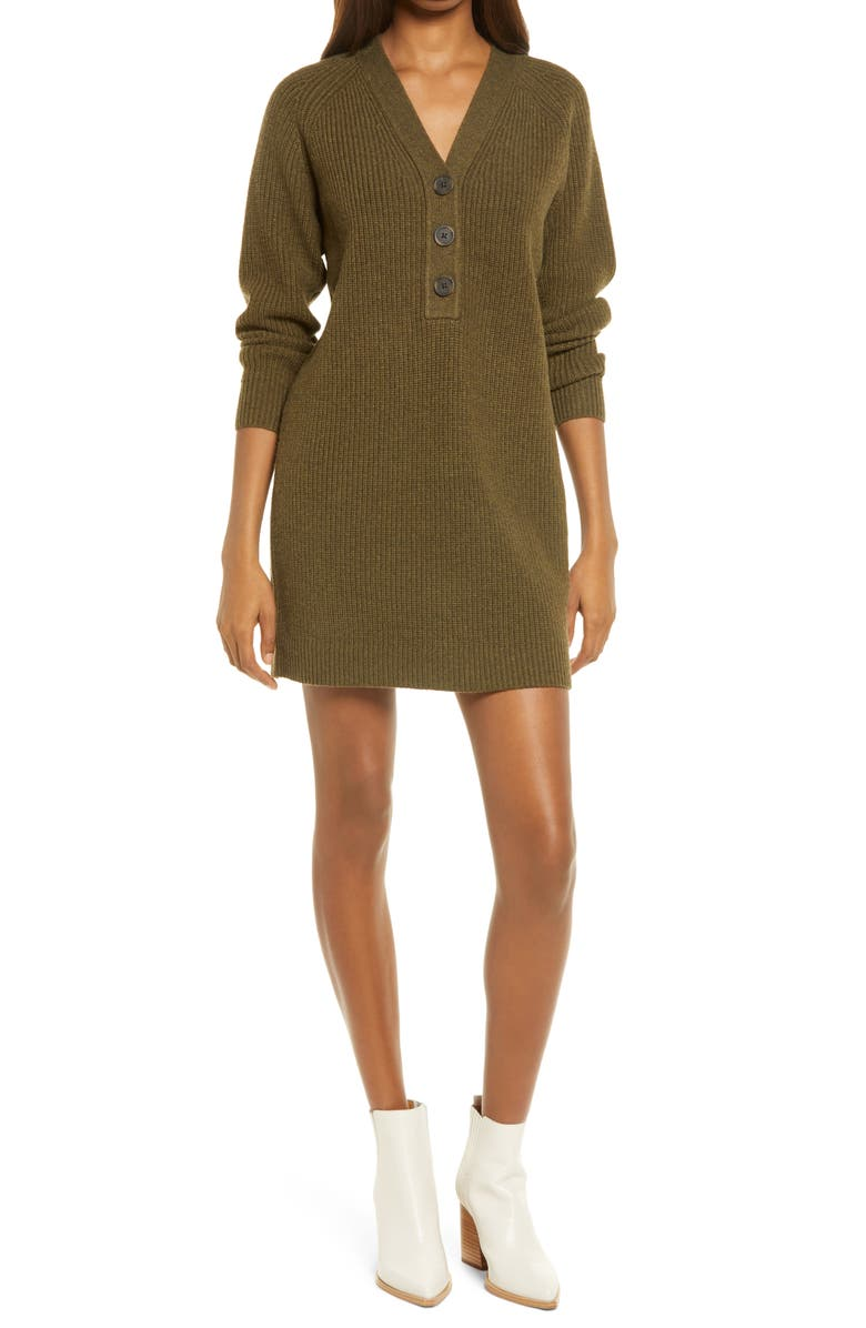 MADEWELL Henley Long Sleeve Sweater Dress, Main, color, HEATHER ELM