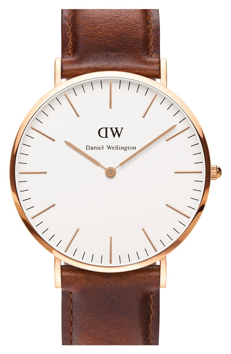 DANIEL WELLINGTON 'Classic St. Mawes' Leather Strap Watch, 40mm, Main, color, 200