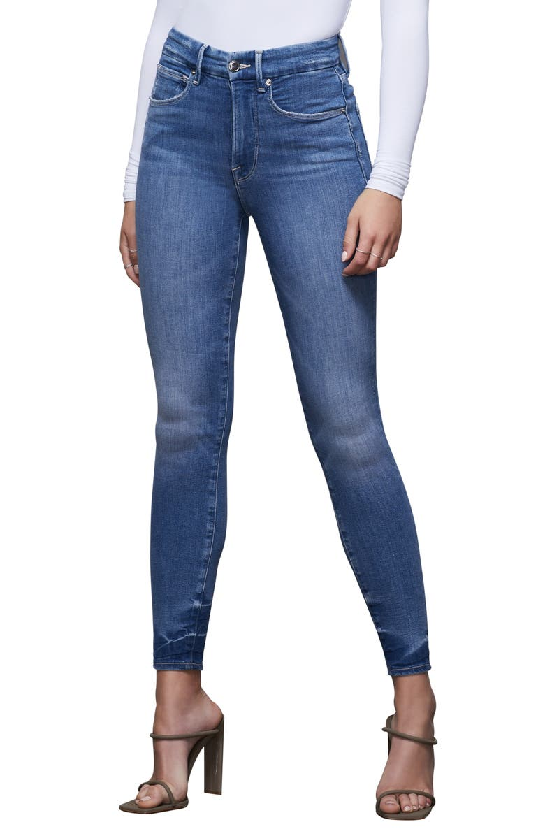 GOOD AMERICAN Good Waist Notched Skinny Jeans, Main, color, 401