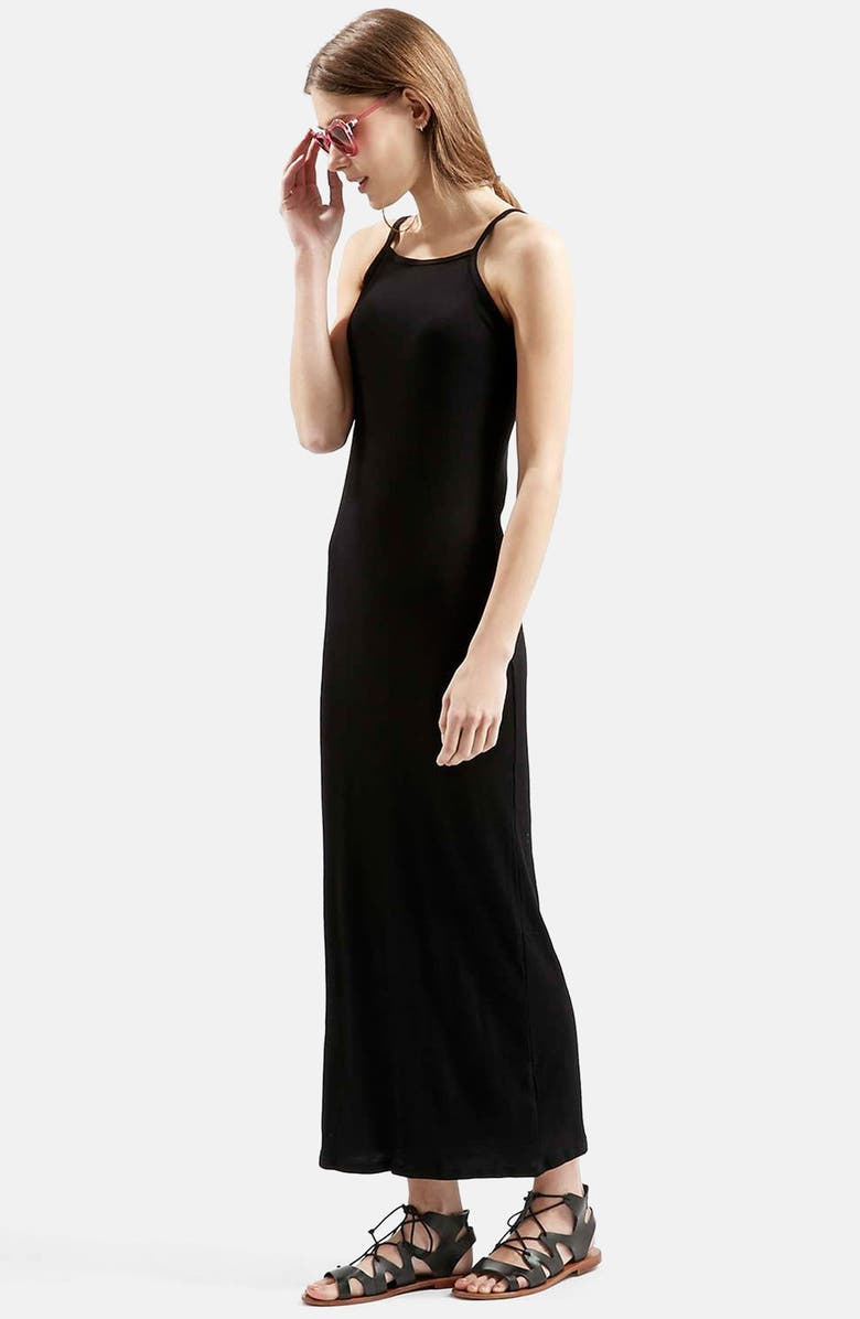 TOPSHOP Ribbed Black Maxi Dress, Main, color, 001