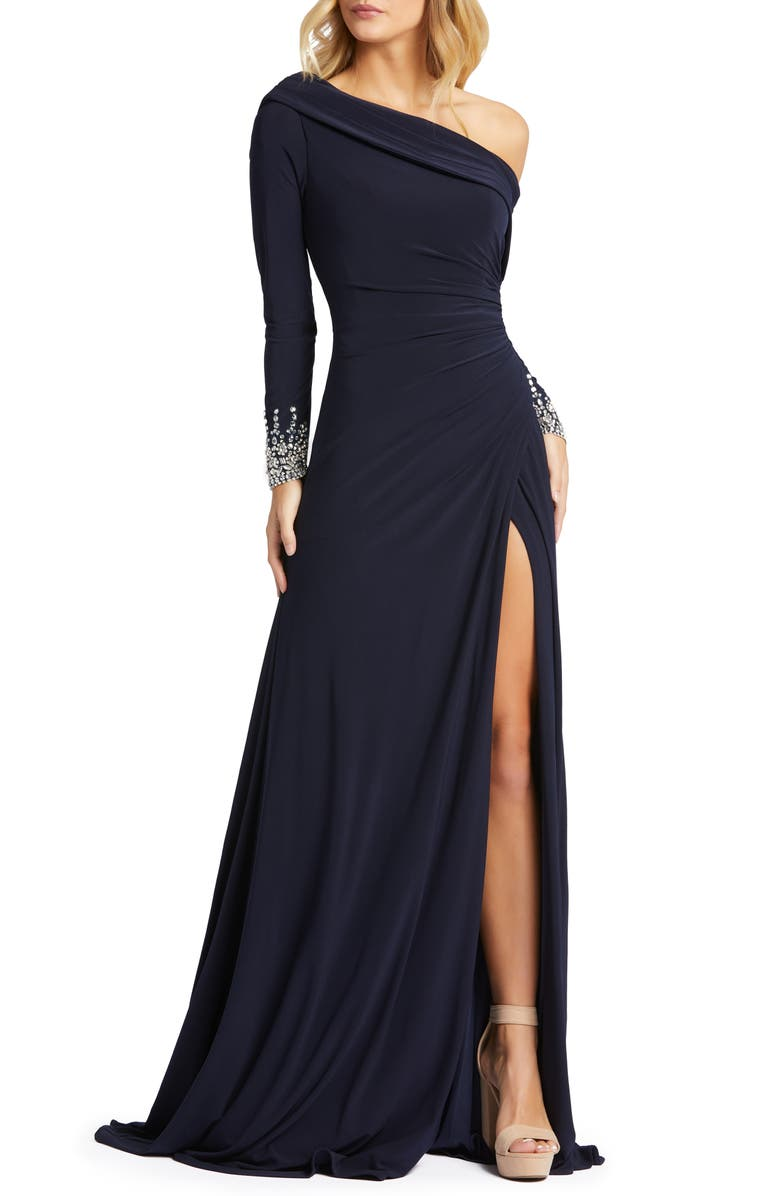 MAC DUGGAL One-Shoulder Long Sleeve Jersey Gown, Main, color, MIDNIGHT