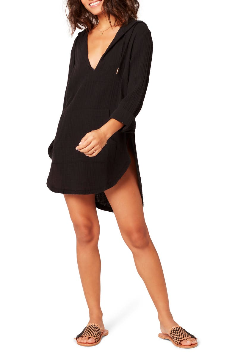 L SPACE Caswell Long Sleeve Hooded Seersucker Cover-Up, Main, color, BLACK