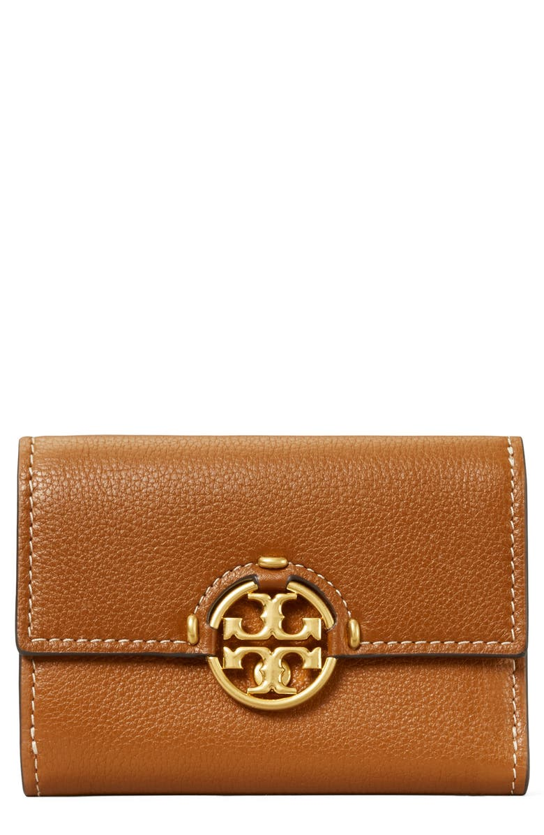 TORY BURCH Miller Medium Trifold Leather Wallet, Main, color, LIGHT UMBER