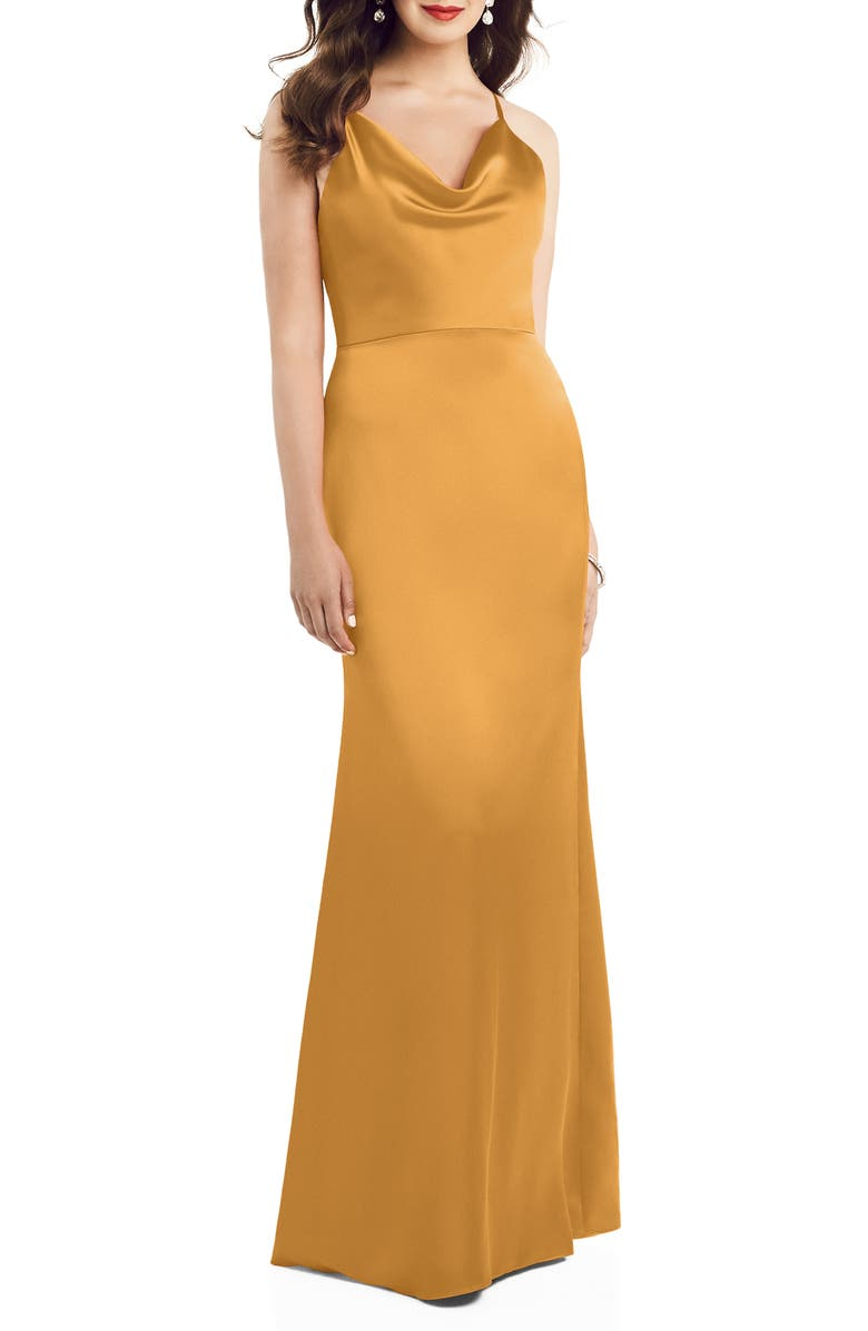 DESSY COLLECTION Dessy Colleciton Cowl Neck Charmeuse Trumpet Gown, Main, color, NYC YELLOW