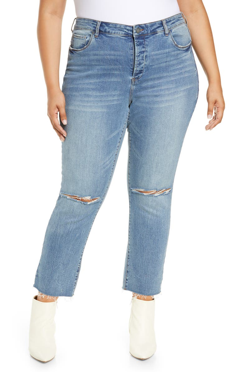 BLANKNYC Madison Distressed Straight Leg Ankle Jeans, Main, color, SAW YOU THERE