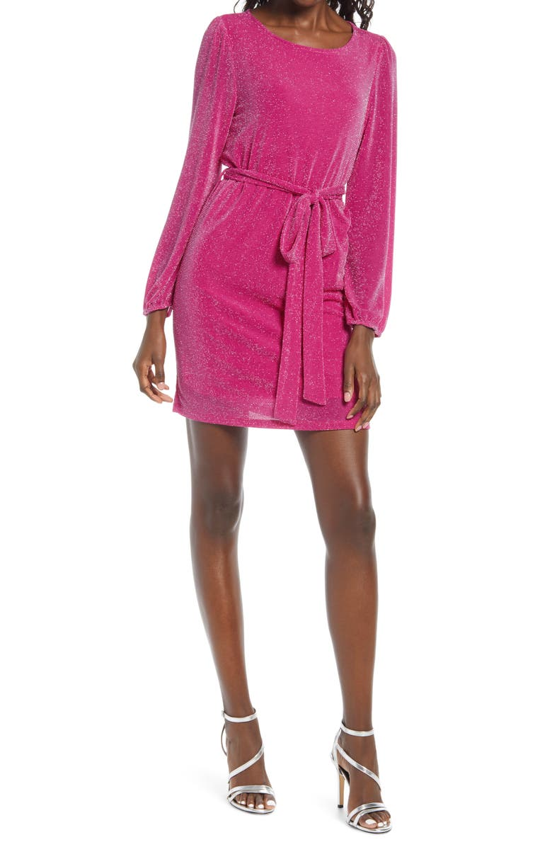 FRAICHE BY J Bling Long Sleeve Minidress, Main, color, PINK