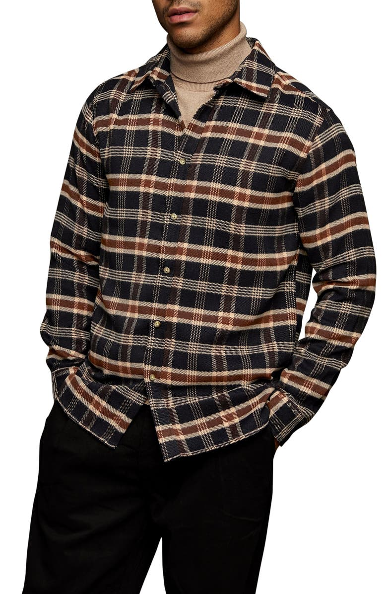 TOPMAN Slim Fit Plaid Brushed Flannel Button-Up Shirt, Main, color, NAVY BLUE
