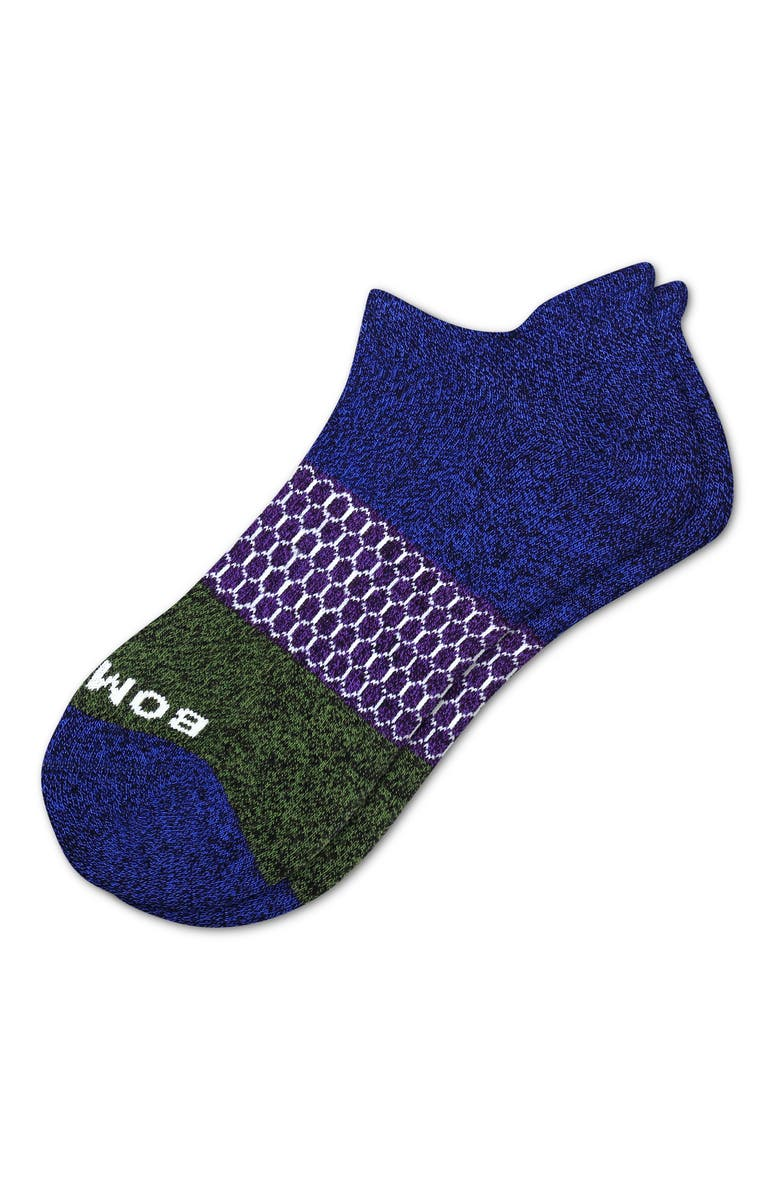 BOMBAS Colorblock Ankle Socks, Main, color, NAVY ROYAL PURPLE
