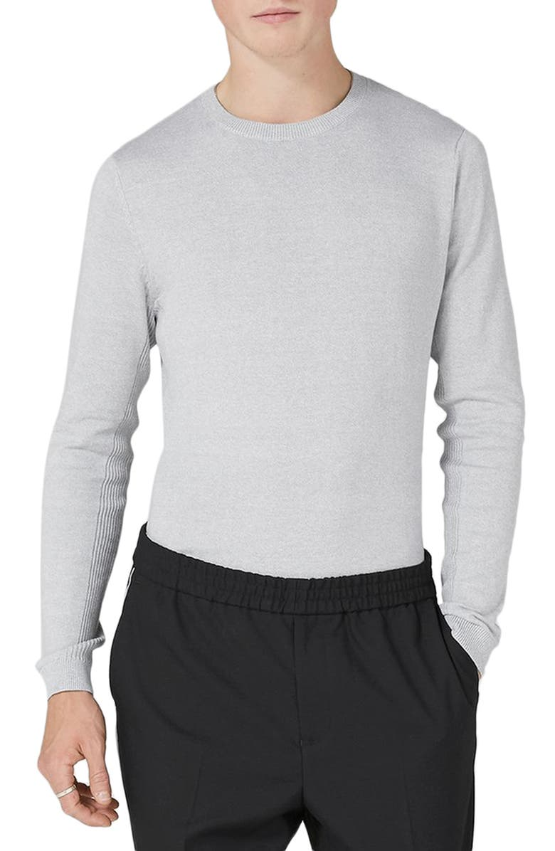 TOPMAN Side Ribbed Slim Fit Sweater, Main, color, 020