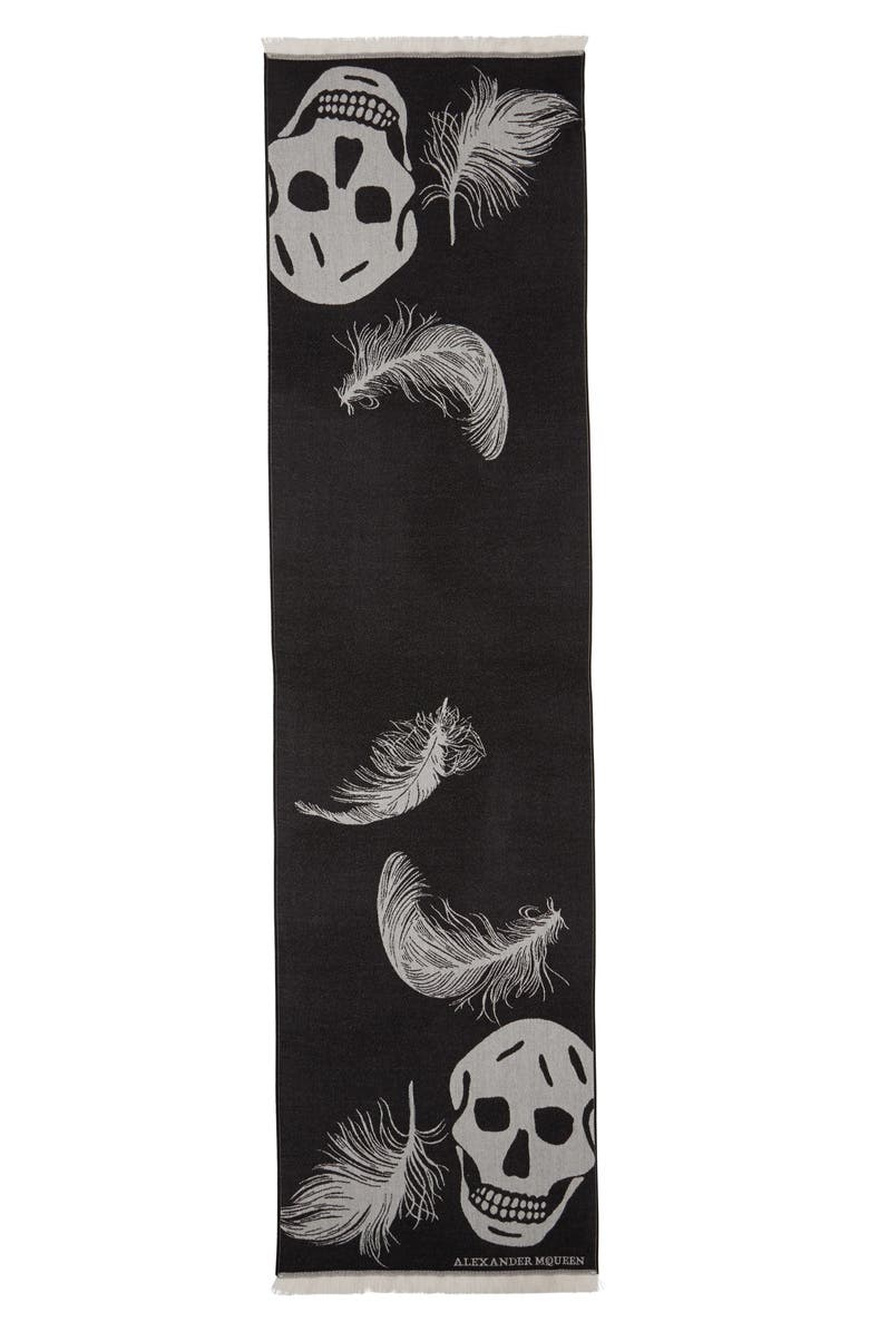 ALEXANDER MCQUEEN Oversize Skull & Feather Wool Scarf, Main, color, 001