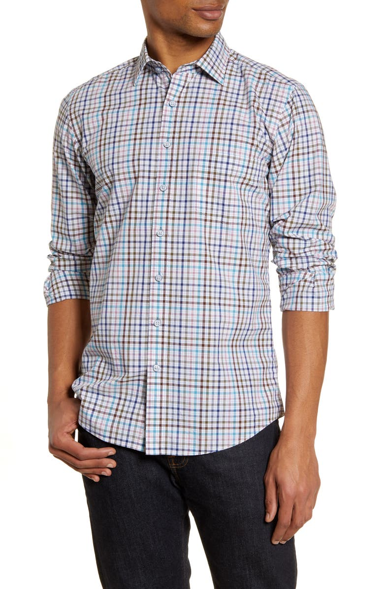 RODD AND GUNN Coral Reef Classic Fit Check Button-Up Shirt, Main, color, CORAL REEF