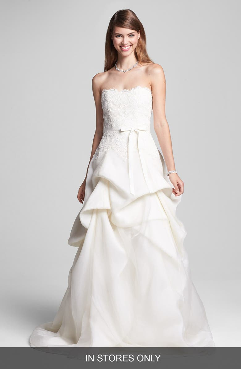 BLISS MONIQUE LHUILLIER Embroidered Lace & Tiered Organza Dress, Main, color, 900